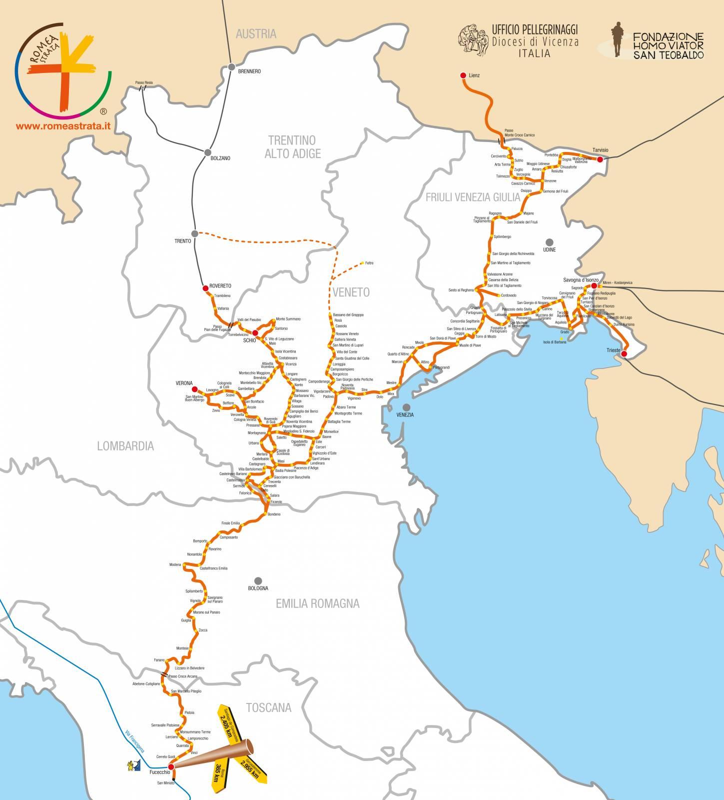 Cartina Italia Romea Strata